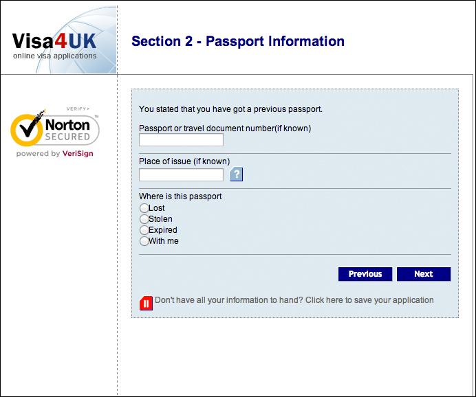 過去のパスポート情報入力画面
