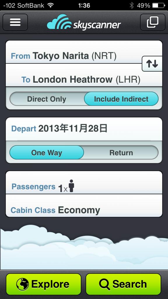 skyscannerでイギリスに11月28日出発のした画面