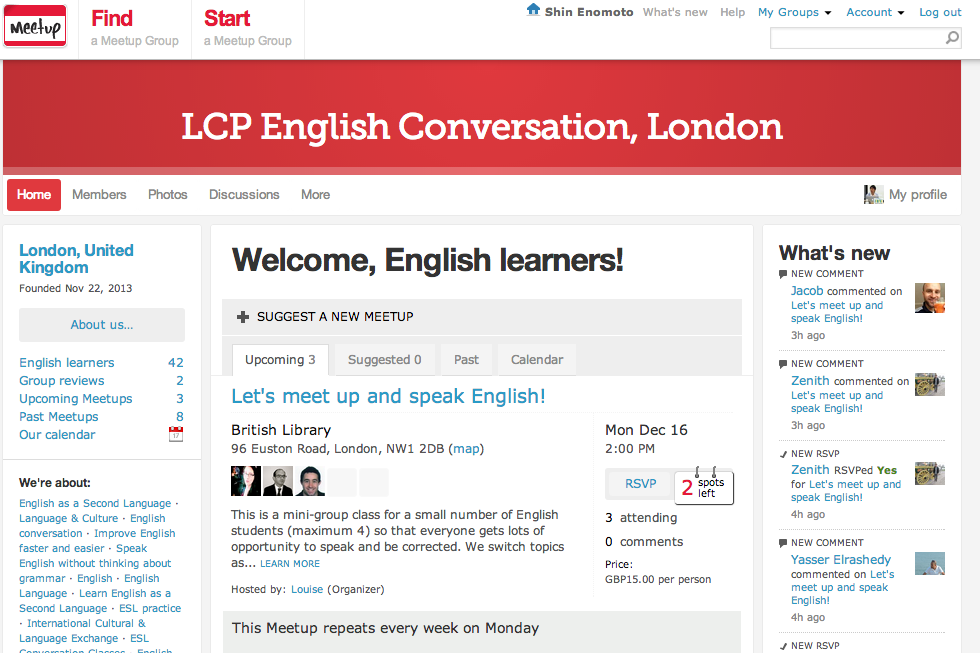 http://www.meetup.com/LCP-English-Conversation-London/のMeetupページ