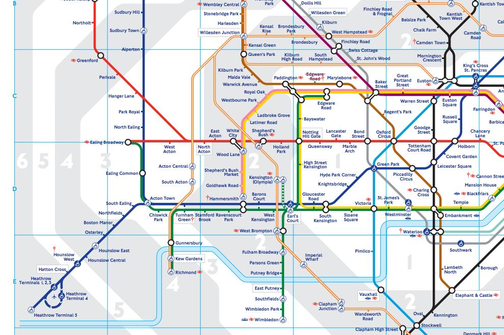 ロンドンの地下鉄の地図