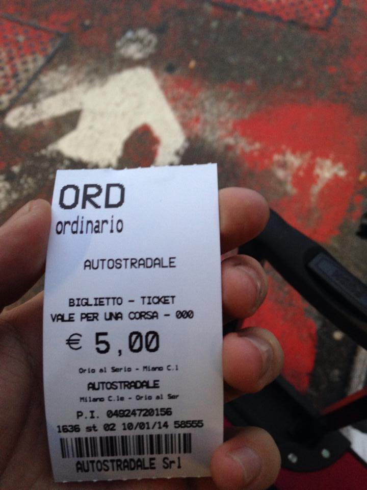 5ユーロのバスのチケット
