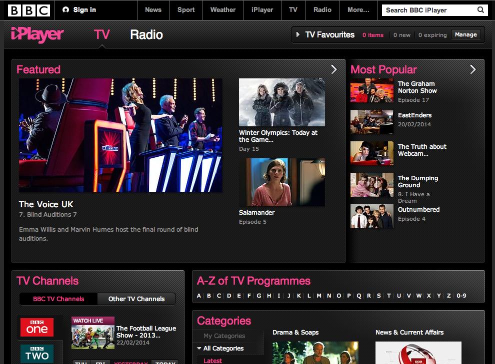 BBC iPlayerのトップ画面