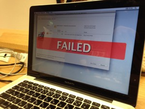 おもいっきりFAILEDと出ている僕のMac