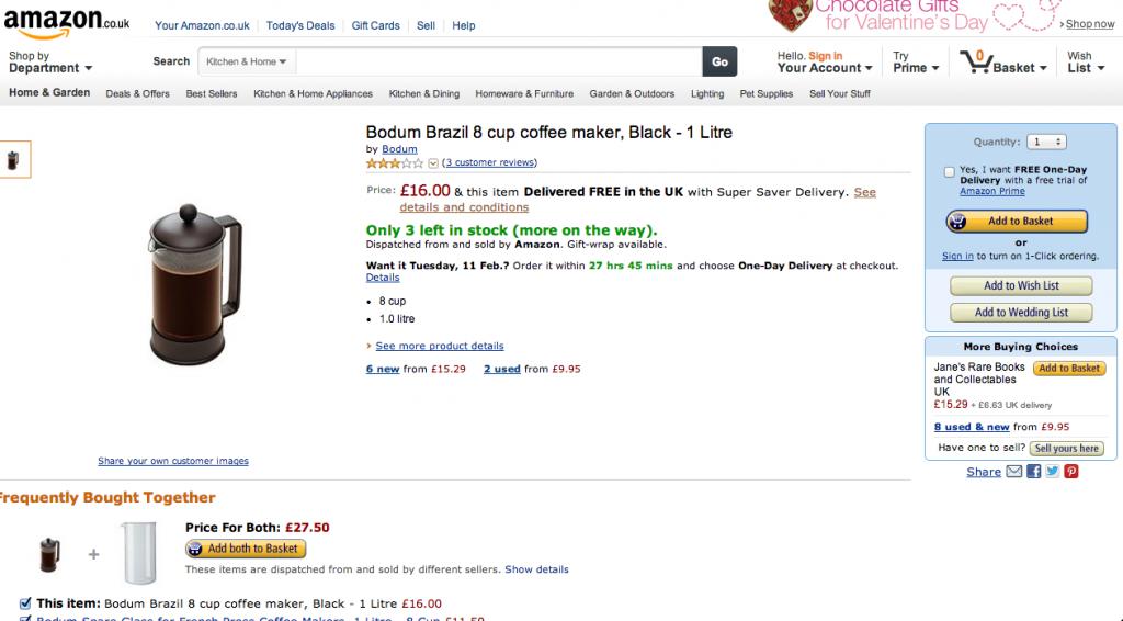 イギリスのAmazon(アマゾン)の画面