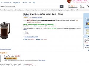 イギリスのアマゾン(Amazon)の画面