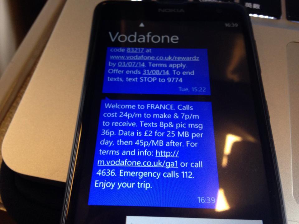 vodafoneがフランスにつくと値段などを通知してくれる。