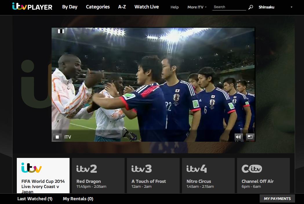 Itvのワールドカップ中継スクリーンショット