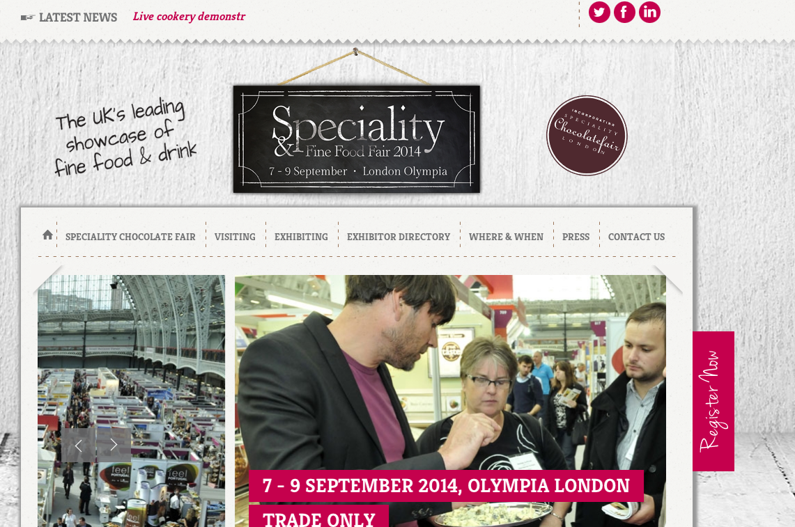 Speciality & fine food festival fairのサイトからスクリーンショット