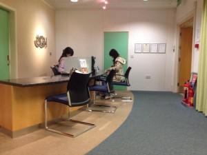 ロンドンの日系病院Japan green medical centreさんの受付
