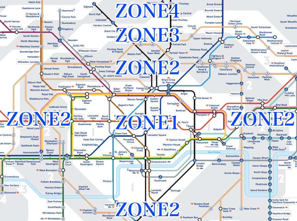 ロンドンの電車のゾーン
